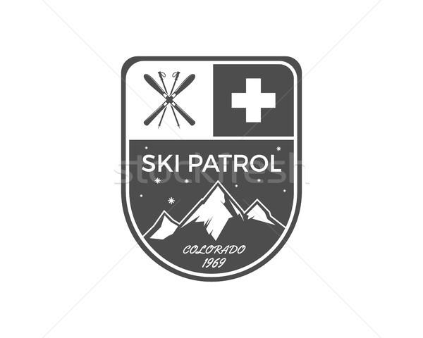 Kayak etiket bağbozumu dağ kış spor Stok fotoğraf © JeksonGraphics