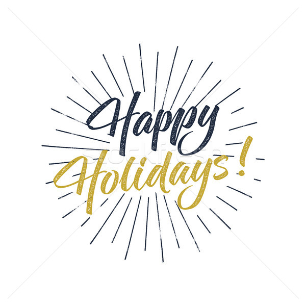 Happy Holidays text and lettering. Holiday typography Illustration. design. Letters with sun bursts  Stock photo © JeksonGraphics