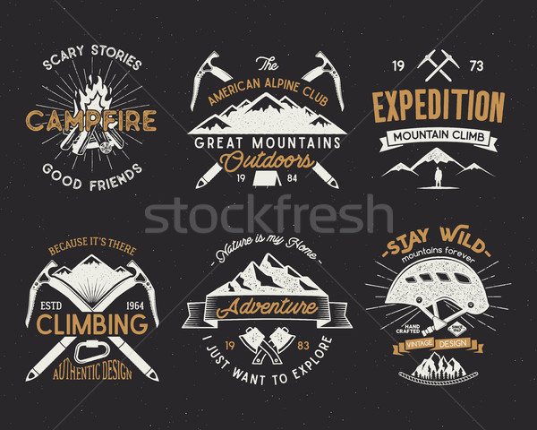 Set of mountain climbing labels, mountains expedition emblems, vintage hiking silhouettes logos and  Stock photo © JeksonGraphics