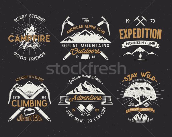 Ayarlamak dağcılık etiketler dağlar sefer bağbozumu Stok fotoğraf © JeksonGraphics