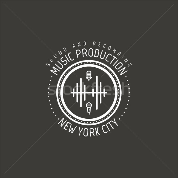 Muziek productie New York City vector label badge Stockfoto © JeksonGraphics