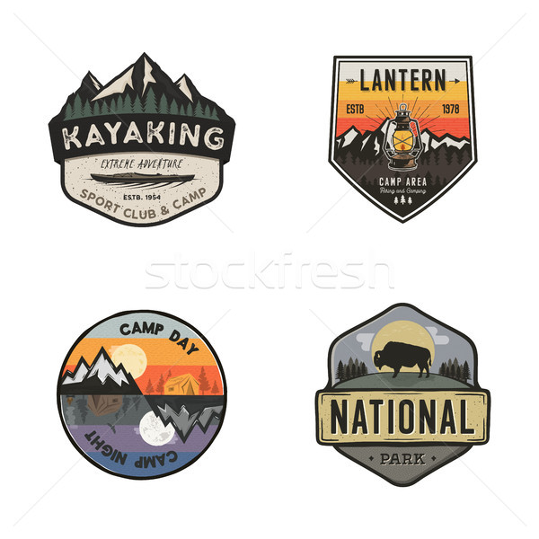 Set of vintage hand drawn travel logos. Hiking labels concepts. Mountain expedition badge designs. T Stock photo © JeksonGraphics