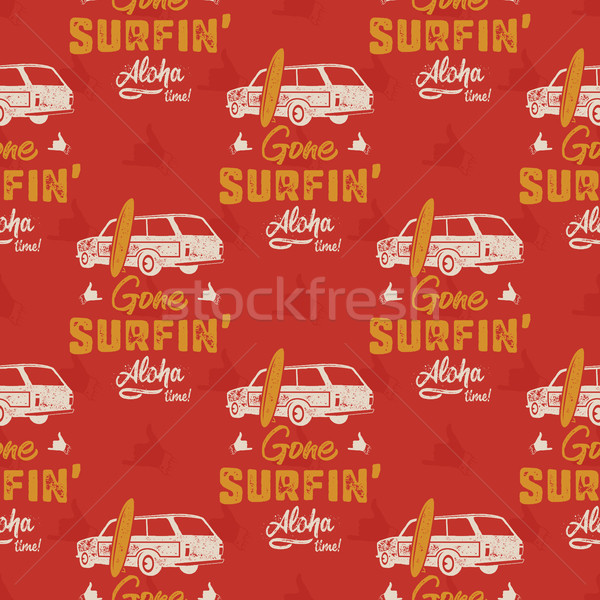 Surfing car pattern. Vintage hand drawn surf wagon with surfboard pattern. Aloha time quote typograp Stock photo © JeksonGraphics