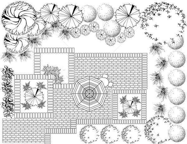 Foto stock: Jardín · plan · blanco · negro · paisaje · ordenador · edificio