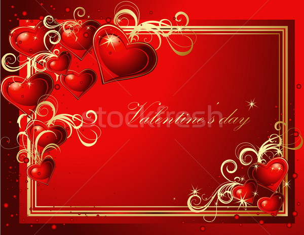 Valentine's greeting card gold and red Stock photo © jelen80