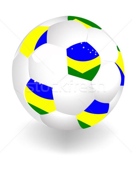Soccer ball with Brazil flag isolated on white  Stock photo © jelen80