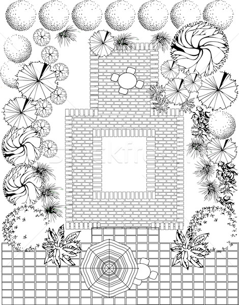 Garden landscape plan Stock photo © jelen80