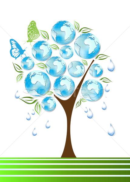 Eco, bio, green and recycle symbols on tree Stock photo © jelen80