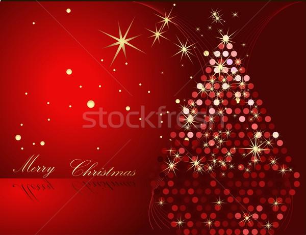 рождественская елка золото красный звездой подарок тень Сток-фото © jelen80
