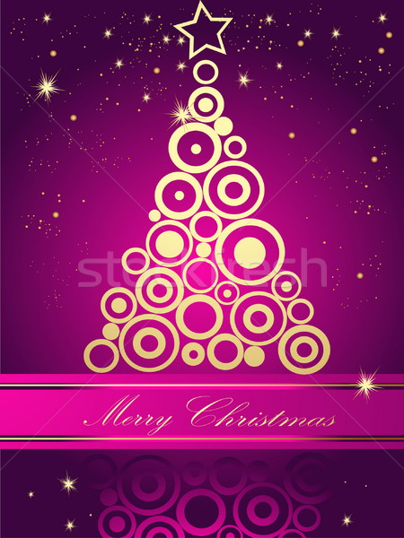 рождественская елка золото свет зима время звездой Сток-фото © jelen80