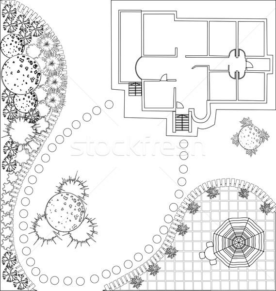 vector Landscape Plan with treetop symbols Stock photo © jelen80