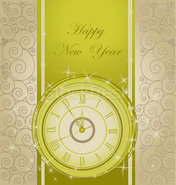 с Новым годом часы свет зима время звездой Сток-фото © jelen80
