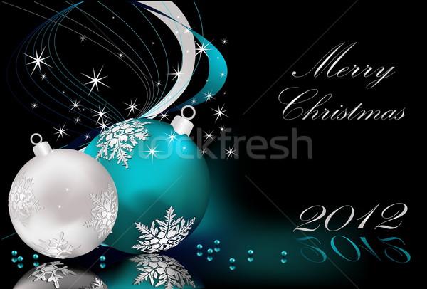 Vidám karácsony ezüst kék fény csillag Stock fotó © jelen80