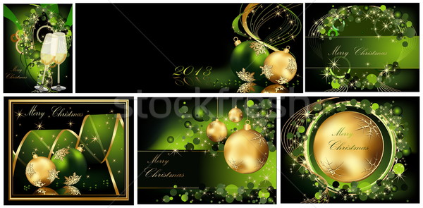 Vidám karácsony arany zöld bor absztrakt Stock fotó © jelen80