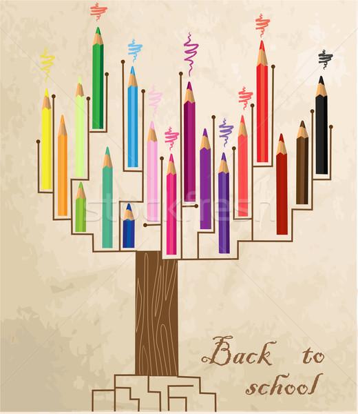 Fa alakú színes ceruzák földgömb iskola Stock fotó © jelen80
