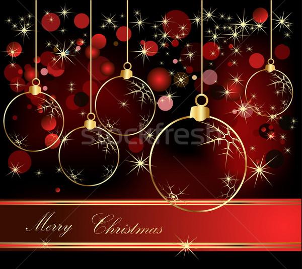 陽気な クリスマス 金 赤 冬 星 ストックフォト © jelen80