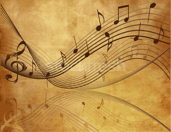 Vintage background with  Music  notes Stock photo © jelen80