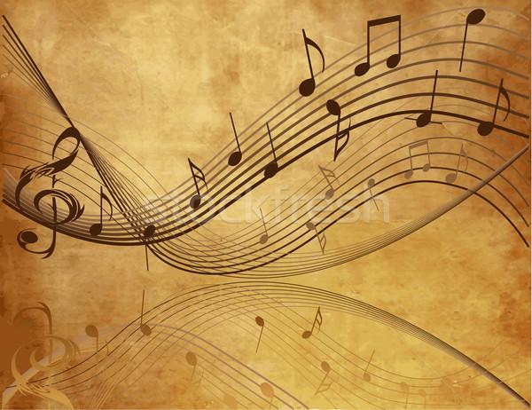 Klasszikus hangjegyek zene absztrakt háttér fekete Stock fotó © jelen80
