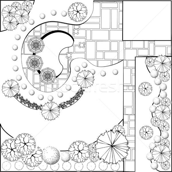 garden plan black and white vector illustration 169 jelena