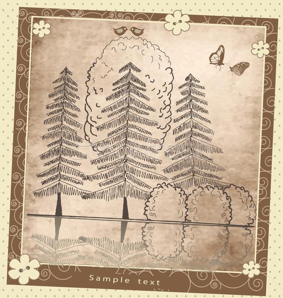 Stockfoto: Vintage · wenskaart · plant · vogels · vector · patroon