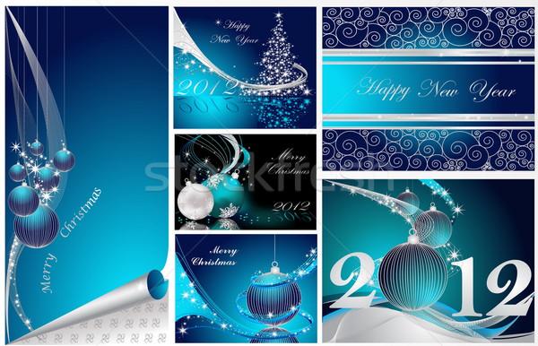 Joyeux Noël happy new year ensemble argent bleu Photo stock © jelen80