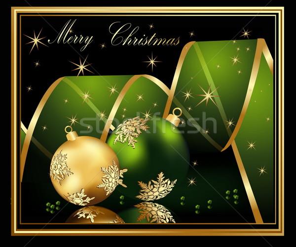 Vidám karácsony arany zöld csillag ajándék Stock fotó © jelen80
