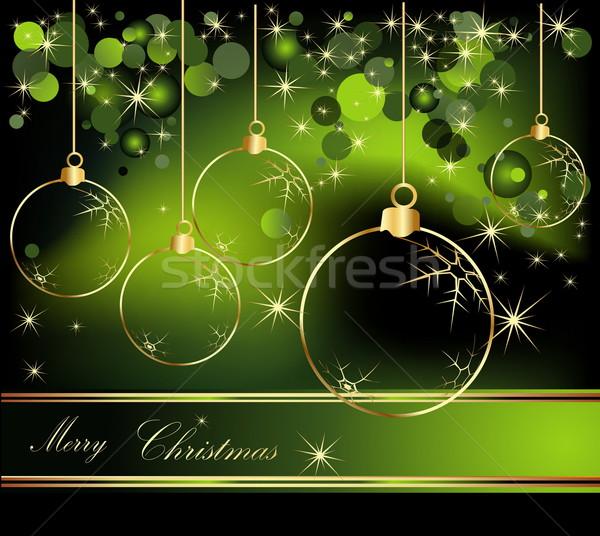 веселый Рождества золото зеленый зима звездой Сток-фото © jelen80