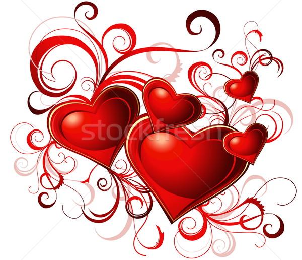 Stockfoto: Valentijnsdag · wenskaart · Rood · hart · lijnen · liefde