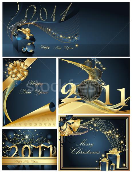 веселый Рождества с Новым годом коллекция аннотация свет Сток-фото © jelen80