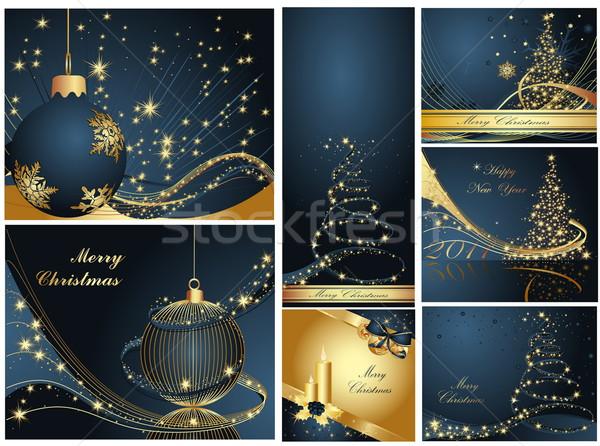 веселый Рождества с Новым годом коллекция золото синий Сток-фото © jelen80