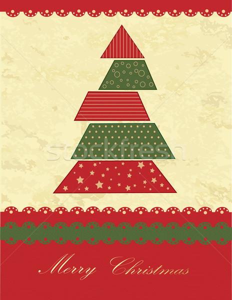 クリスマスツリー 緑 赤 ヴィンテージ テクスチャ 背景 ストックフォト © jelen80