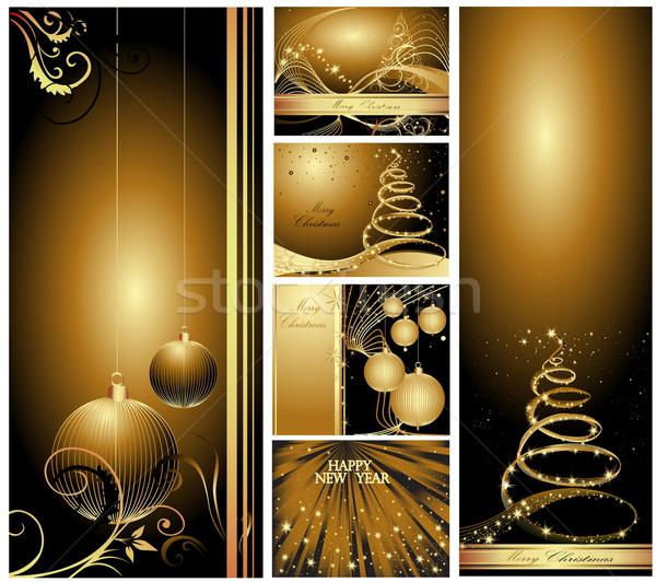 陽気な クリスマス 明けましておめでとうございます コレクション 抽象的な 雪 ストックフォト © jelen80
