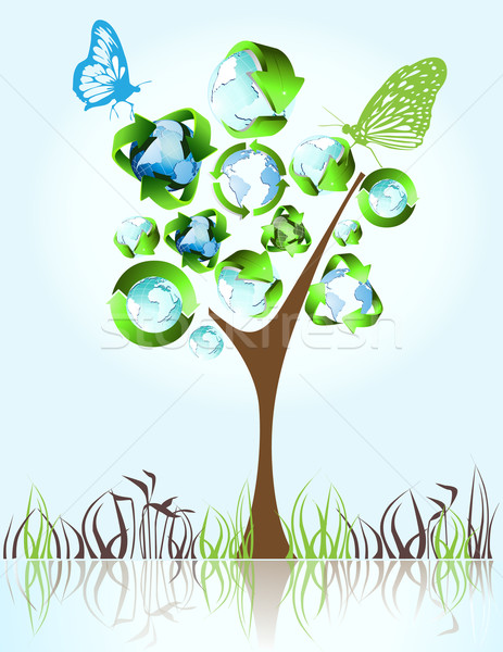 öko bio zöld újrahasznosít szimbólumok fa Stock fotó © jelen80
