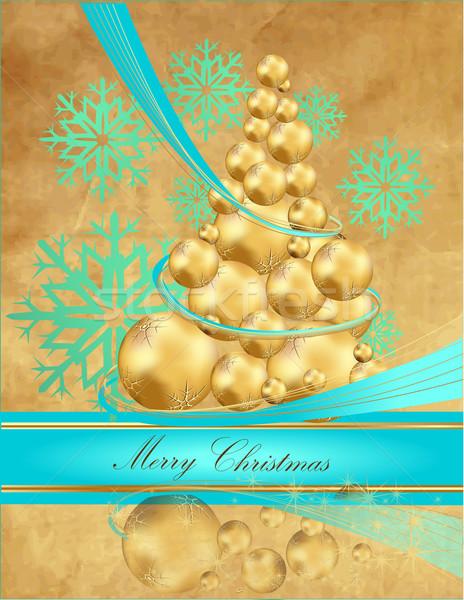 рождественская елка золото синий свет зима время Сток-фото © jelen80