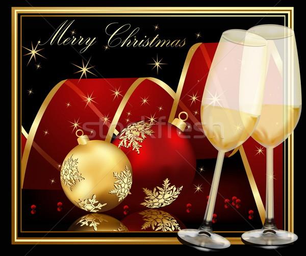 ストックフォト: クリスマス · 金 · 赤 · 光 · ガラス · 氷