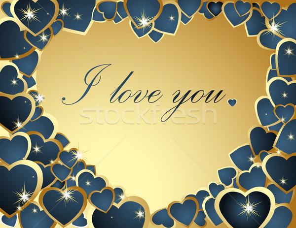 золото синий сердцах сердце Сток-фото © jelen80