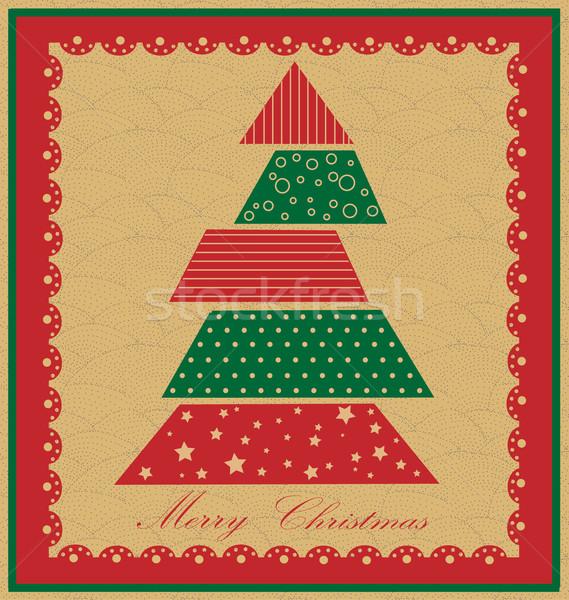 Karácsonyfa zöld piros fa háttér keret Stock fotó © jelen80