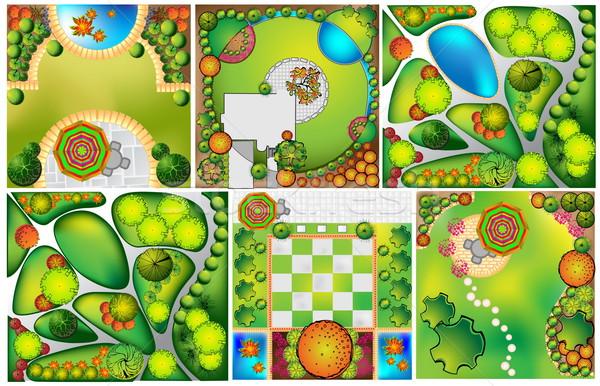 Landschap plan symbolen huis ontwerp tuin Stockfoto © jelen80