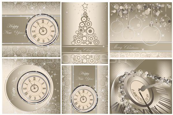 коллекция с Новым годом веселый Рождества фоны свет Сток-фото © jelen80