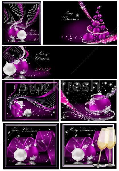 ストックフォト: 陽気な · クリスマス · 銀 · バイオレット · ツリー · ワイン