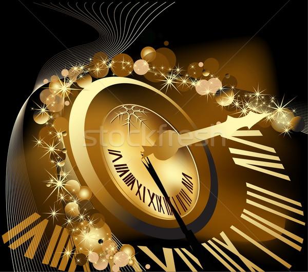 веселый Рождества с Новым годом золото красный часы Сток-фото © jelen80