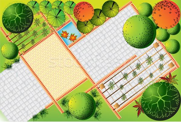 пейзаж плана саду воды древесины деревья Сток-фото © jelen80