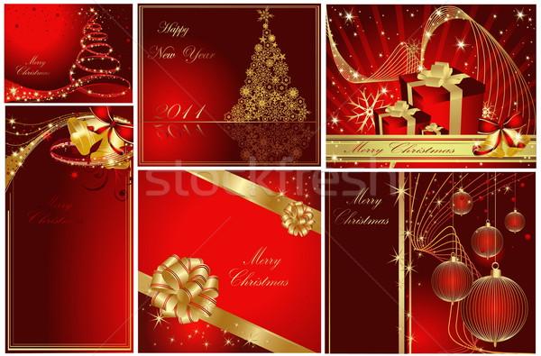 веселый Рождества с Новым годом коллекция золото красный Сток-фото © jelen80