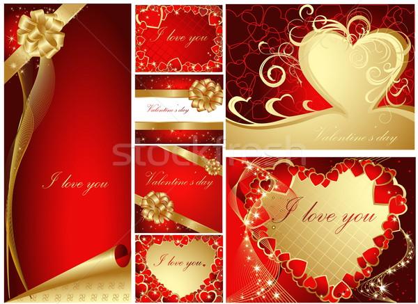 Ensemble accueil cartes or rouge Photo stock © jelen80