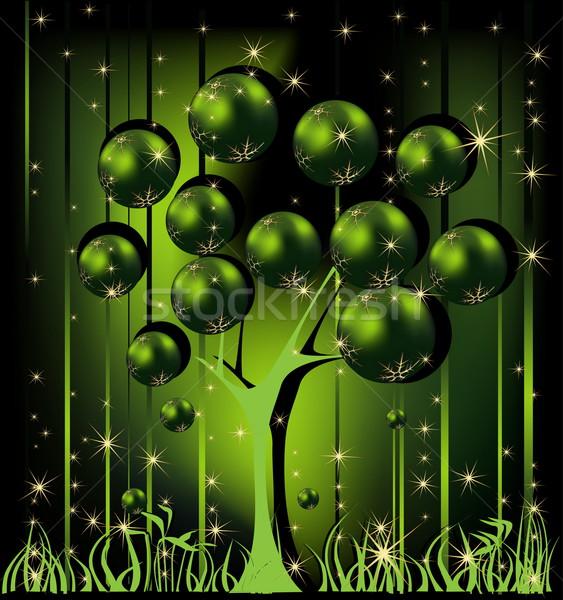Karácsonyfa arany zöld tél csillag ajándék Stock fotó © jelen80