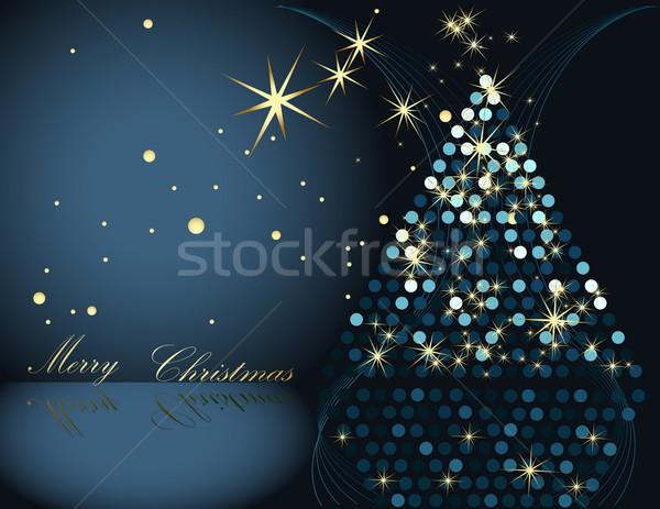 рождественская елка золото синий зима звездой подарок Сток-фото © jelen80