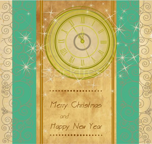 Boldog új évet vidám karácsony klasszikus óra fény Stock fotó © jelen80