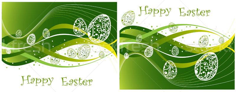 Kellemes húsvétot gyűjtemény zöld étel természet kék Stock fotó © jelen80