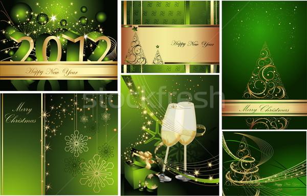 Vidám karácsony boldog új évet gyűjtemény arany zöld Stock fotó © jelen80