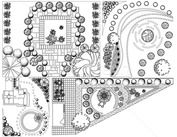 Collections od  Landscape Plan with treetop symbols black and white Stock photo © jelen80